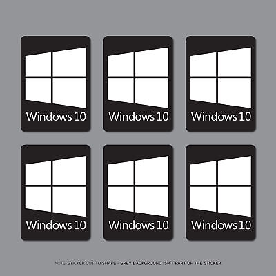 6 x Windows 10 Sticker Deca PC Laptop Notebook - 22mm x 16mm - SKU2693