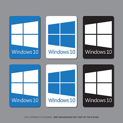 6 x Windows 10 Sticker Deca PC Laptop Notebook - 22mm x 16mm - SKU2694