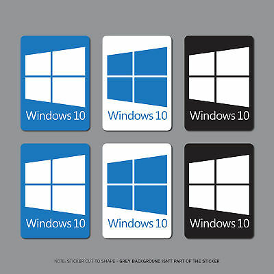 6 x Windows 10 Sticker Decal Badge PC Laptop Notebook - 22mm x 16mm - SKU2694