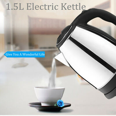 1.5L Stainless Steel Electric Kettle Jug 1500W Fast Boil Indicator Light Kitchen
