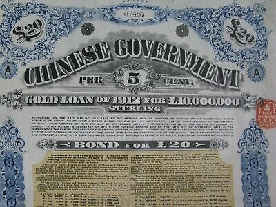 1912 China Chinese Government 'Crisp' 5% Gold Loan of 1912 for £ 20 coupons