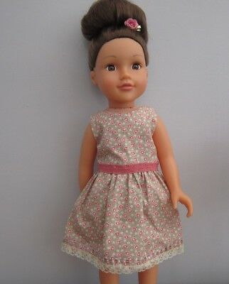 18 Inch Dolls Dress - Vintage Looking Dress Fawn with Pink Flowers & Lace