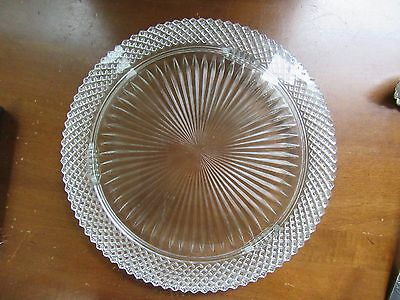"vINTAGE Anchor Hocking Clear MISS AMERICA 12"" Footed Cake Plate"