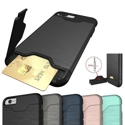 For IPhone 8 Plus 7 6 Shockproof Hard Stand Case Credit Card Slot Slim Cover
