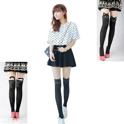 Lovely Enticing Cat Tail Printed Knee False High Stockings Tights Socks New