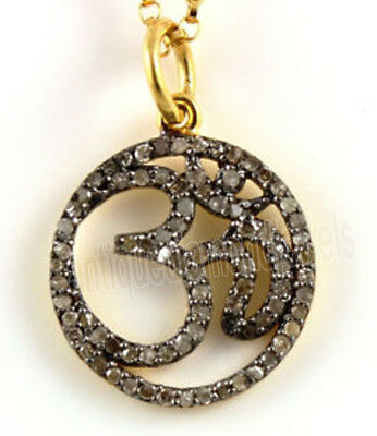 3.55cts ROSE CUT DIAMOND .925 STERLING SILVER OM PENDANT
