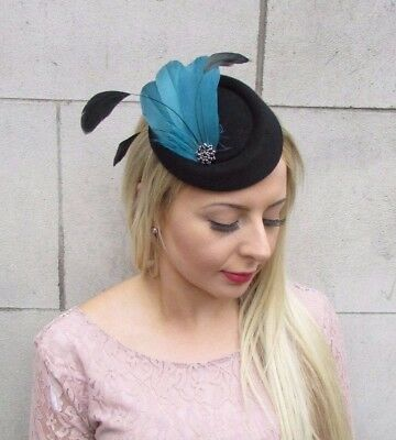 Black Teal Blue Green Feather Pillbox Hat Hair Fascinator Races Clip Vtg 4066