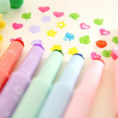 6Pcs Cute Candy Color Stamp Pen Stamper Marker Highlighters Painting Art