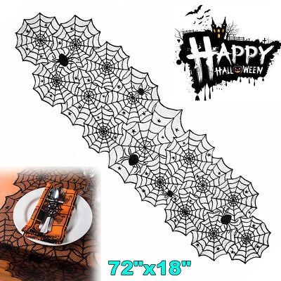 Black Lace Spider Web Halloween Table Runner Cover Props Party Table Decoration