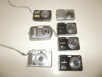 Lot Of 7 Digital Cameras For Parts Or Repair FUJI SONY KODAK PANASONIC