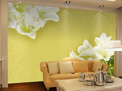 3D Simple White Lily 8 Wall Paper Murals Wall Print Wall Wallpaper Mural AU Kyra