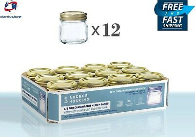 Anchor Hocking Half Pint Mason Glass Canning Jars with Lids and Bands, Set of 12