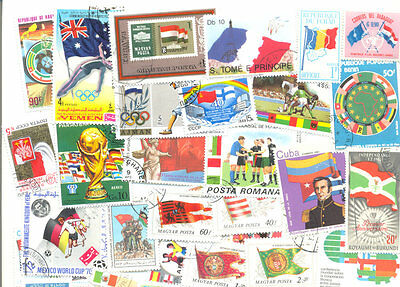 Flags on stamps collection 300 all different mainly large-medium