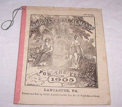 1905 Agricultural Almanac-John Baer's Sons-Booksellers & Stationers-Lancaster Pa