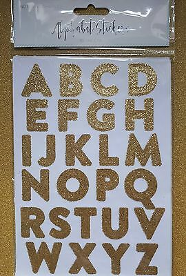 10 ×  Sheets Of Gold Glitter Alphabet Large Capital Letter Stickers 3cm