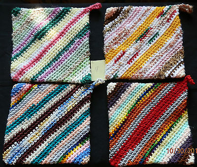 Homemade Handmade Crocheted Double Thick Hot Pad Pot Holders Set of 4 - Set 4