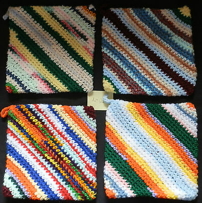 Homemade Handmade Crocheted Double Thick Hot Pad Pot Holders Set of 4 - L-2