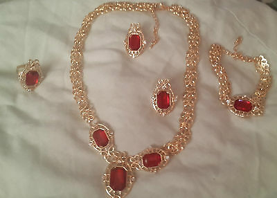 tudor medieval costume jewellery gold emerald ruby necklace earrings set