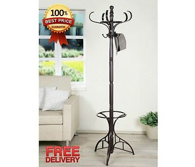 Espresso Finish Hat Jacket Purse 10 Hooks Coat Rack Tree with Umbrella Stand NEW