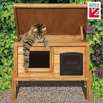 External Self Heating Cat Kennel with One Way Privacy Window & Matatabi Stick
