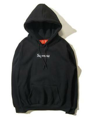 Black Supreme Box Logo Hoodie classic box logo Hip Hop Hoodie Embroidered Cotton
