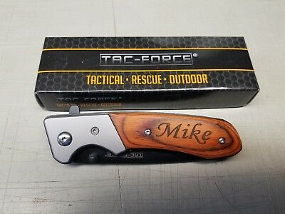 9 Personalized Engraved TAC-FORCE Pocket Knife with Clip Groomsmen Custom Gift