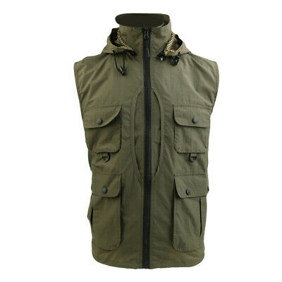 Men Hooded Vest Waterproof Multi-Pocket Travelling Photography Fishing Waistcoat