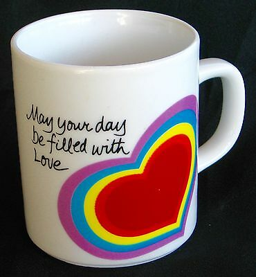 1983 Avon Easter Collectable Coffee Mug Rainbow Heart.