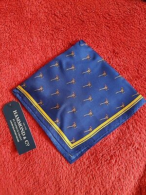 half price men Hammond & Co. By Patrick Navy Pheasant Print Silk Pocket square