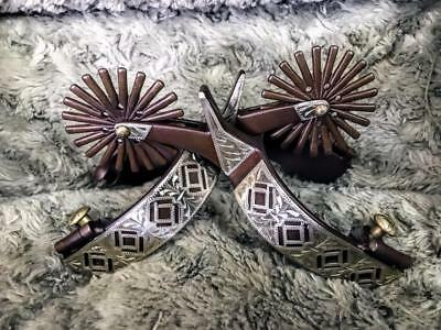Antique Brown & Silver Western Cowboy Spurs 59