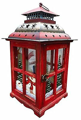 Holiday Lantern Candle Holder Christmas Decorative Centerpiece with Snowman (...