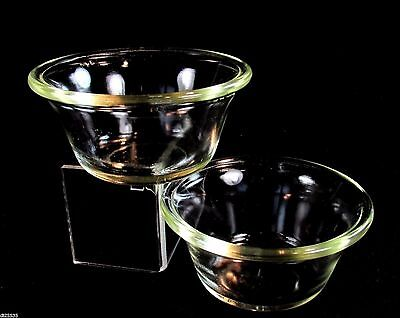 Pyrex Crystal Glass 3 oz Custard Cups #410 1927-1934 TM Reg Trademarks Set of 2
