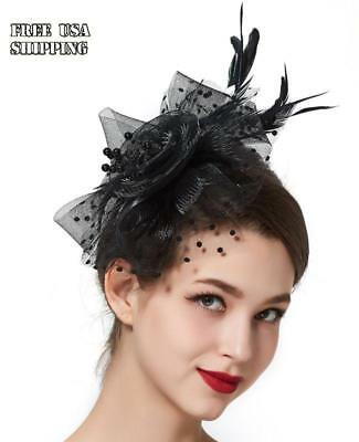 Women Feather Fascinator Headband Pillbox Tea Party Beads Net and Veil Hat Black