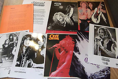 OZZY OSBOURNE LOT 2 press releases RARE Blizzard of Ozz, Live & Loud, + 8x10's