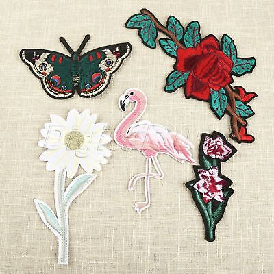 Flamingo Butterfly Embroidered Patches*5 Clothes Sewing Flower Badge Applique