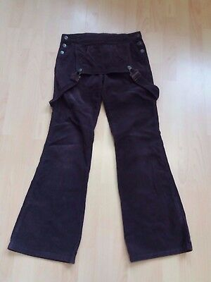 R881 Womens Tipster Brown Cord Overall Flared Dungarees M 10 W28 L32
