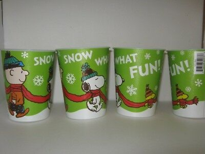 Peanuts Charlie Brown Snoopy Woodstock Winter Cup 16oz Non BPA Lot of FOUR