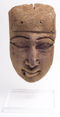 Ancient Egyptian Late Period (664-332 B.C.) Cedar Wood Funerary Mask. Lifesize