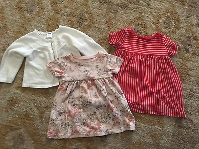 BABY GIRL OLD NAVY COTTON DRESSES LOT 3-6 MONTHS and Sweater
