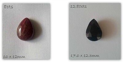Gemstone Pear Cut Cabochon Ruby Sapphire Plain Faceted