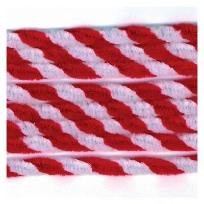 Darice 8mm Chenille Stems/Pipe Cleaners - Red/White Candy Cane Twisted - 12 pack