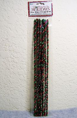 """Darice 8mm x 12"""" Holiday Craft Chenille Stems: Red/Green Tinsel Twist -10 pc"""