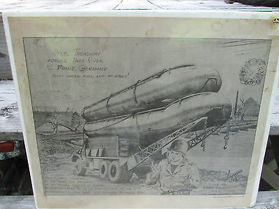 """Cool 1944 MILITARY Drawing """"STEEL TREADWAY Across INDE River FRENZ, GERMANY"""" !!!"""