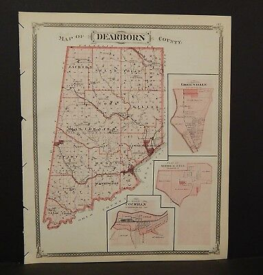 Indiana Dearborn County/ Brookville Township 1876 Reverses Special Price! K15#72