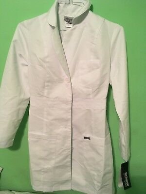 Grey's Anatomy Womens Small White  Lab Coat New 3 Pockets 34 Inches