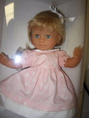 """Corelle Toddler Doll 14"""" Made In France Blonde Pink Floral Dress In Box"""