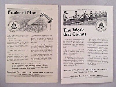 American Telephone & Telegraph LOT of 2 PRINT AD - 1910 ~~ AT&T, Bell System