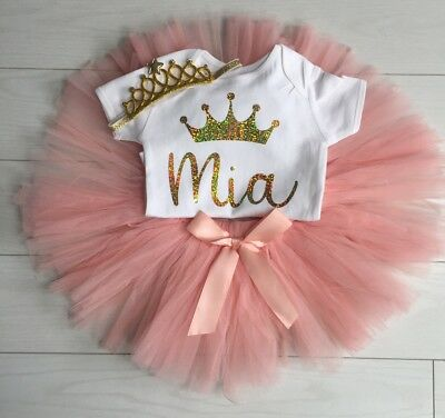 Baby Girls Personalised 1st First Birthday Outfit Tutu Skirt Cake Smash Blush