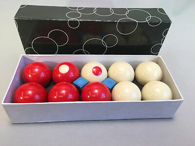 Bumper Pool Billiard Balls Set of 10 Red White with Chalk