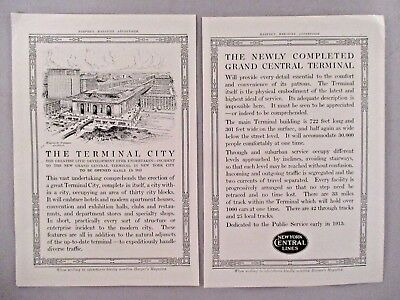 Terminal City Opening Two-Page PRINT AD - 1913 ~~ New York Central Line